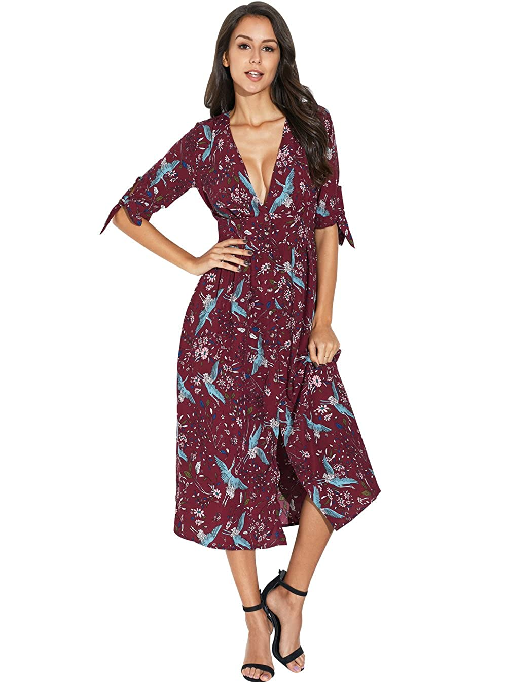 12b30cd00828 PYL Womens Summer Casual Short Sleeve V Neck Slit Sexy Floral Midi Dress at Amazon  Women's Clothing store: