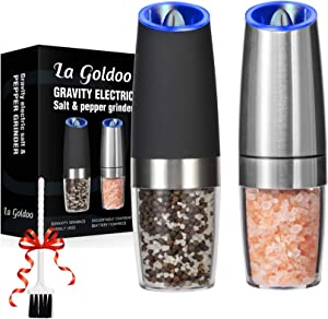 LaGoldoo Gravity Electric Salt and Pepper Grinder Set 2 Pcs, Silver & Black Automatic Pepper and Salt Mill Refillable, Battery Operated One Hand Mill Kit with LED Light, Valentine's Gift.