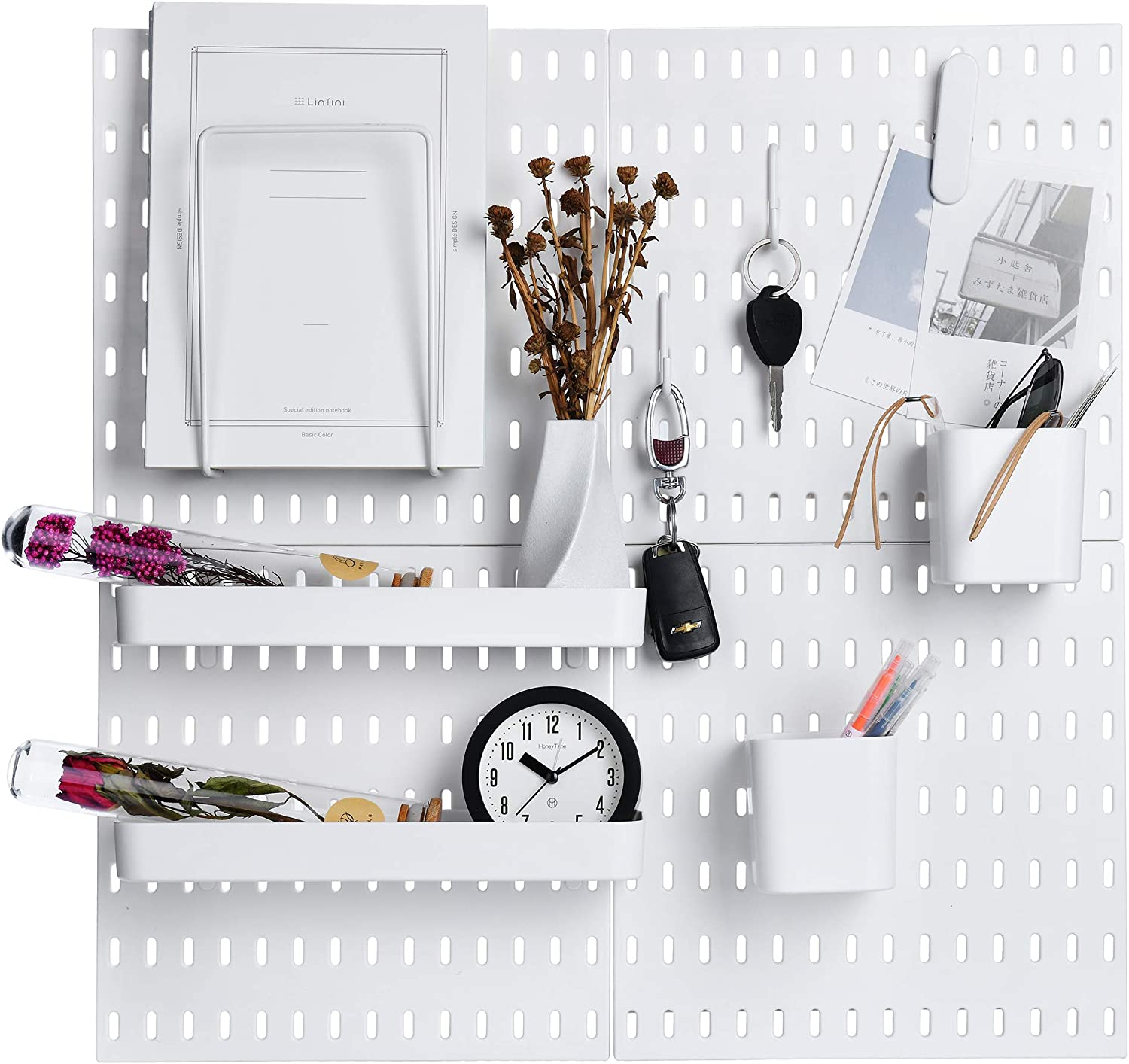 Keepo Pegboard Combination Kit with 4 Pegboards and 14 Accessories Modular Hanging for Wall Organizer, Crafts Organization, Ornaments Display, Nursery Storage, 22