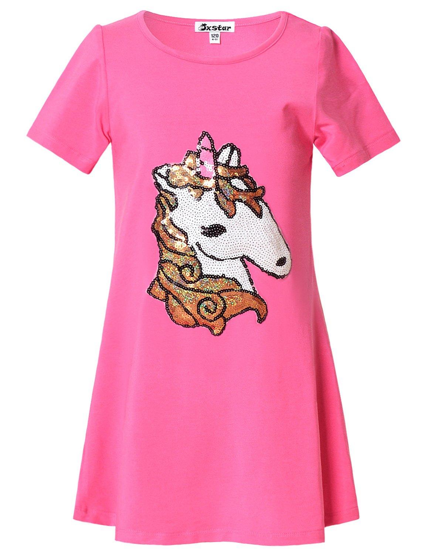 Jxstar Girl Summer Dress Unicorn Sequin Shirt Little Short Sleeve Casual, 6-7Years/Height:48in, 6-7Years/Height:48in, Mermaid Unicorn
