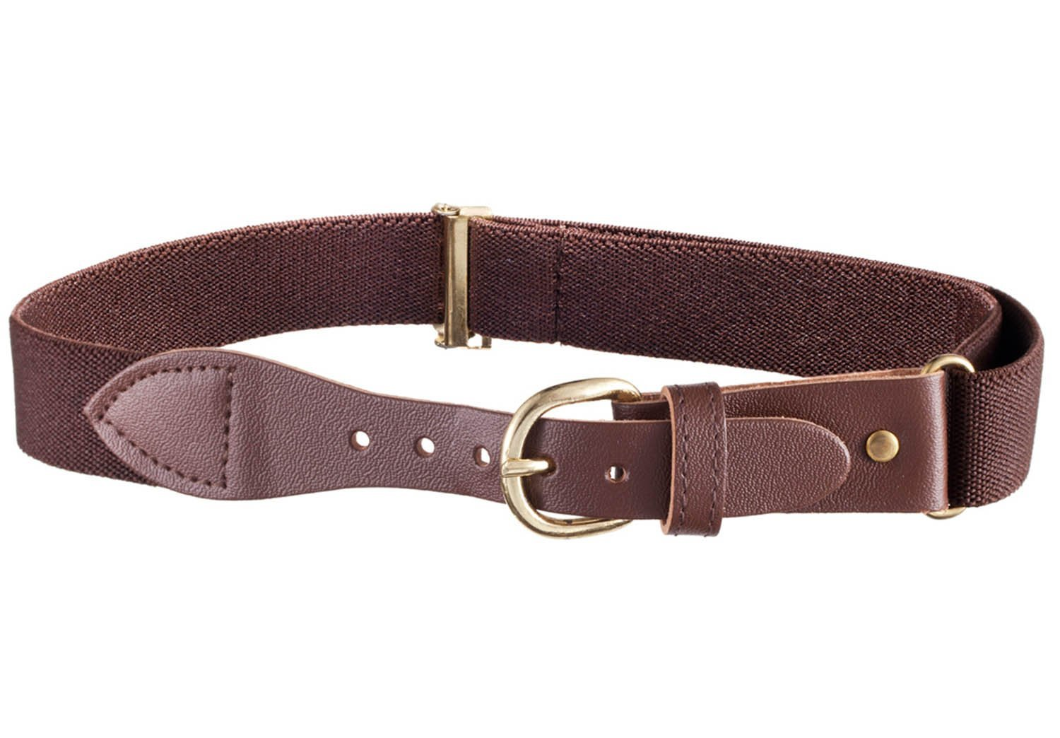 Kids Elastic Adjustable Belt with Leather Closure - Brown