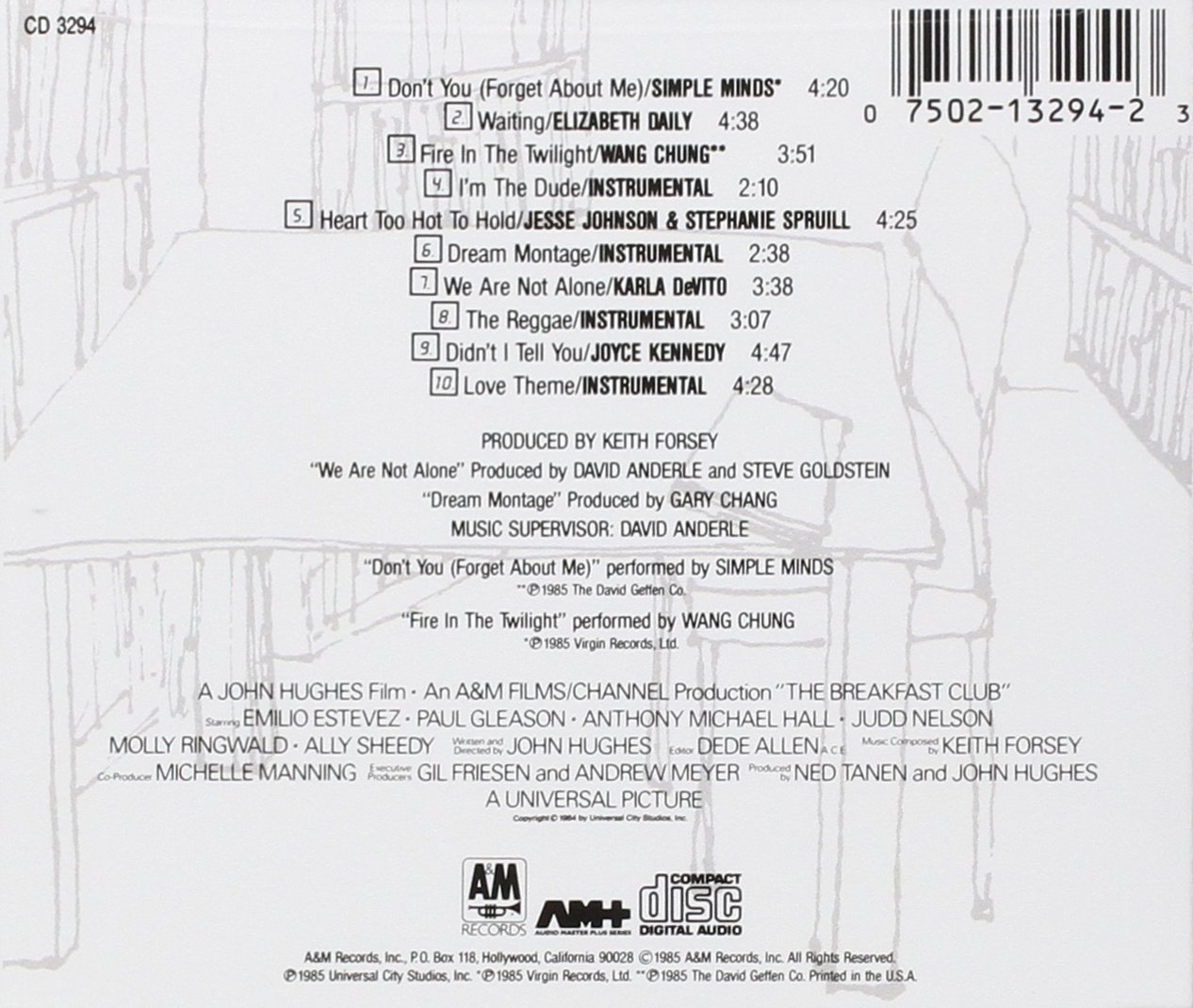 Soundtrack The Breakfast Club Original Motion Picture Digital Sample And Hold Music