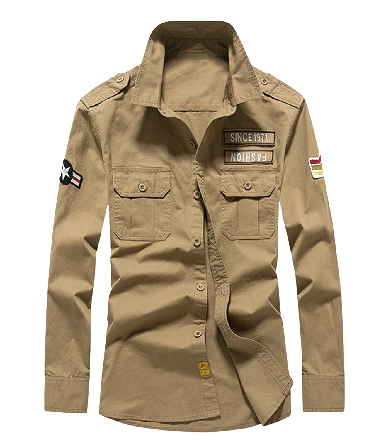 S/&S-Men Fashion Casual Military Style Long Sleeves Button Down Tactical Shirt