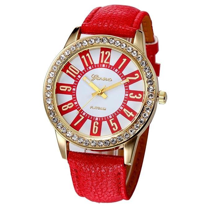 Xinantime Relojes Mujer,Xinan Reloj Cuarzo Acero Inoxidable Analógico PU Cuero