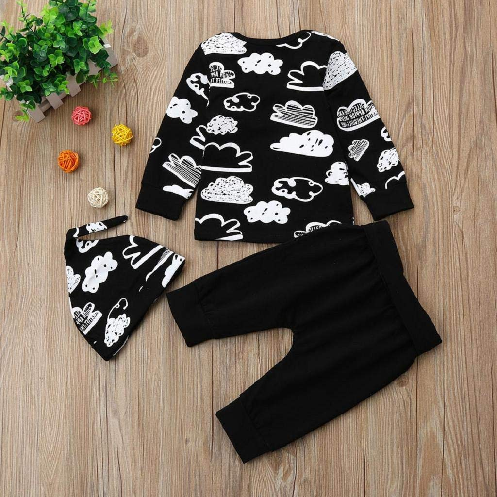 DEELIN Boys Clothing Sets,Tops+Pants+Hat Cloud Print T-Shirt Soft Trousers Toddler Kids Baby Girls Infant Outfits Set Cute Newborn Baby Boys Clothes