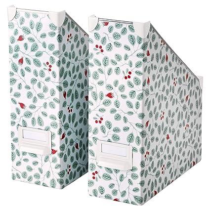 Ikea Fjalla revistero archivador blanco verde 2 unidades