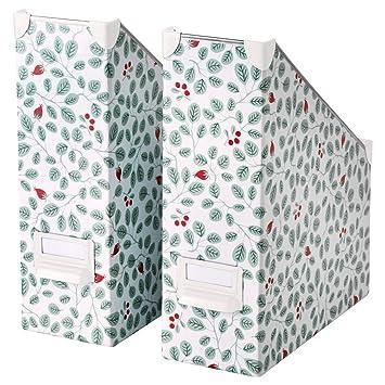 Ikea Fjalla revistero archivador blanco verde 2 unidades: Amazon.es: Hogar