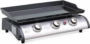 Alice's Garden - Plancha de Gas, Barbacoa de Gas, 3 quemadores, 7,5kW, Plancha de Acero esmaltado, Cocina de Exterior, Porthos