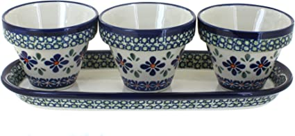 Blue Rose Polish Pottery Mosaic Flower Pots With Tray Planters Garden Outdoor