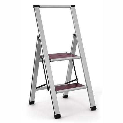 Brilliant Aluminum Folding 2 Step Ladder Anti Slip Sturdy Lightweight And Slim Design Wood 2 Step Camellatalisay Diy Chair Ideas Camellatalisaycom