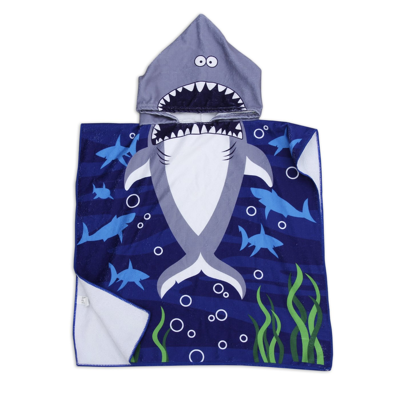 Polly House Children Hooded Beach Towel, Shower Bath Robes, Swim coverup, Water Activities Towel for Boy/Girls, Soft and Strong Absorbent (12 Shark Sea)
