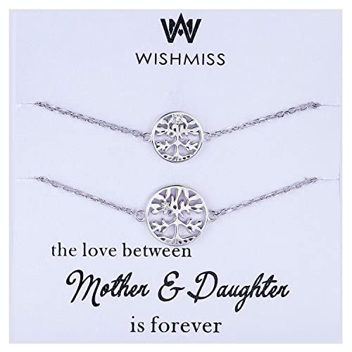 67a7216e8 WISHMISS Mother Daughter Family Tree Bracelets Set, 2 Pieces 925 Sterling  Silver Tree of Life
