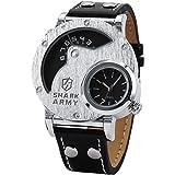 SHARK Montre Bracelet Militaire Homme Quartz Sportive Bracelet Cuir Noir Cadran Noir-Argent SAW053