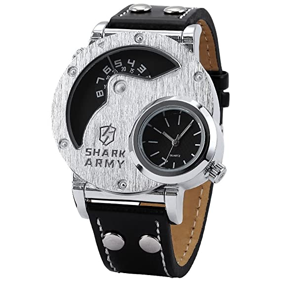 14638663e SHARK ARMY Oversized Dual Time Zone Military Brushed Steel Face Quartz Sport  Wrist Watch SAW053