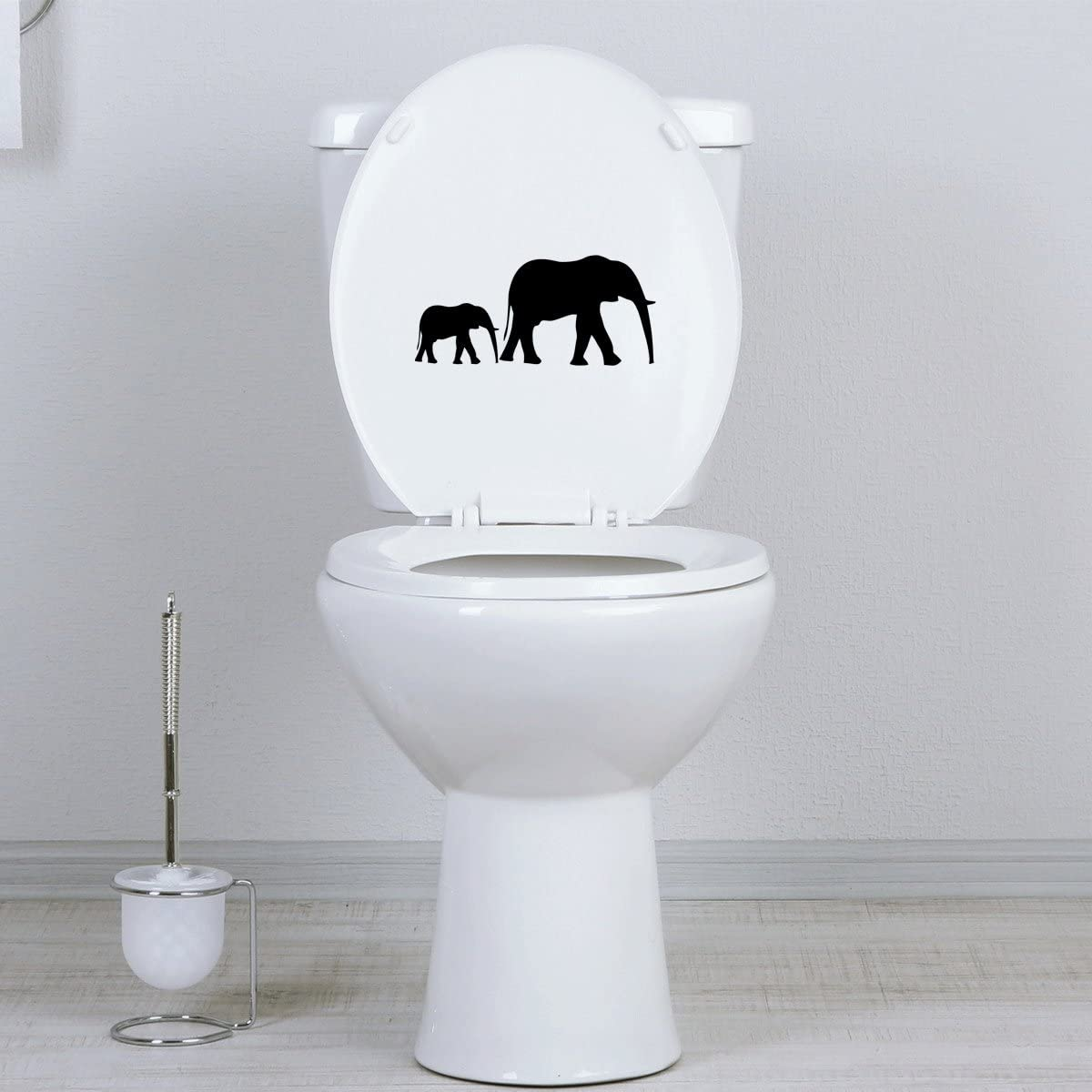 Silver Seat StickAny Bathroom Decal Series Elephant Silhouette Sticker for Toilet Bowl Bath
