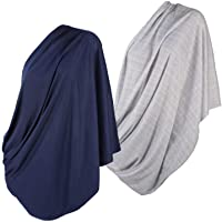 (2pk Grey/Navy) - 2pk LK Baby Infinity Nursing Scarf Breastfeeding Cover Ultra Soft (Grey/Navy)