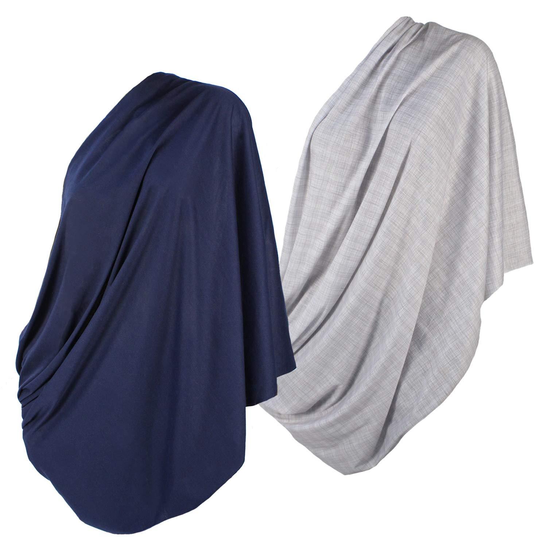 2pk LK Baby Infinity Nursing Scarf Breastfeeding Cover Ultra Soft (Grey/Navy) by LK Baby