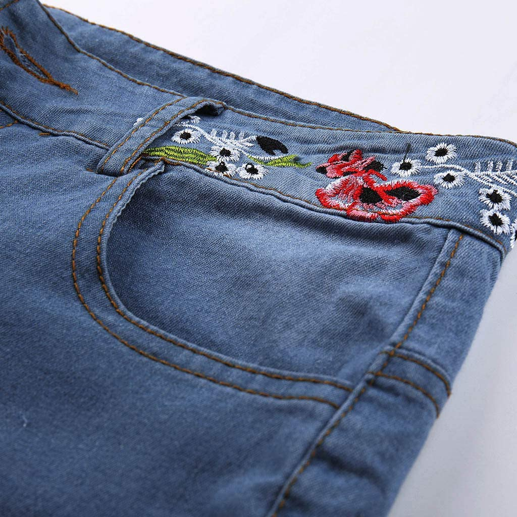 Jeans for Womens Embroidered Flare Jeans Ladies Autumn Elastic Plus Loose Denim Embroidery Casual Boot Cut Pant Jeans