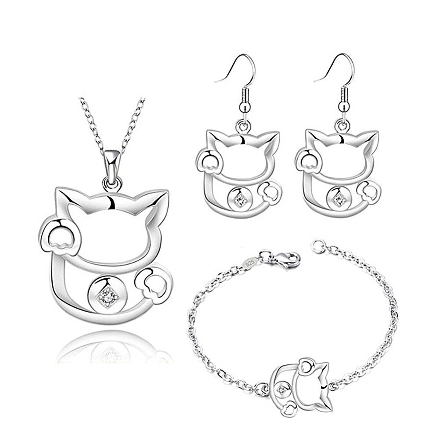 Majesto - 925 Sterling Silver Cat Pendant Necklace Drop Earrings and Bracelet Set For Women Teen Girls Prime Gift Majesto Jewellery 99438