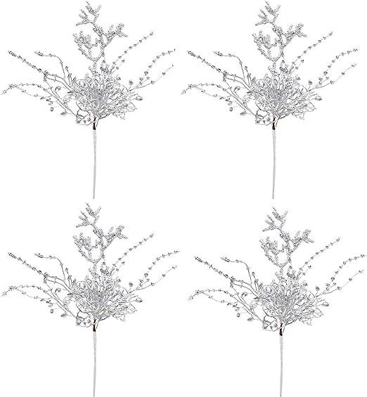 Artificiali Rami Glitterati Fiori Rami Natalizi Rami Fiori Finti per Albero di Natale per Artigianato Argento Vacanze e Decorazioni YQing 4 Pezzi Rami Decorativi Natalizi