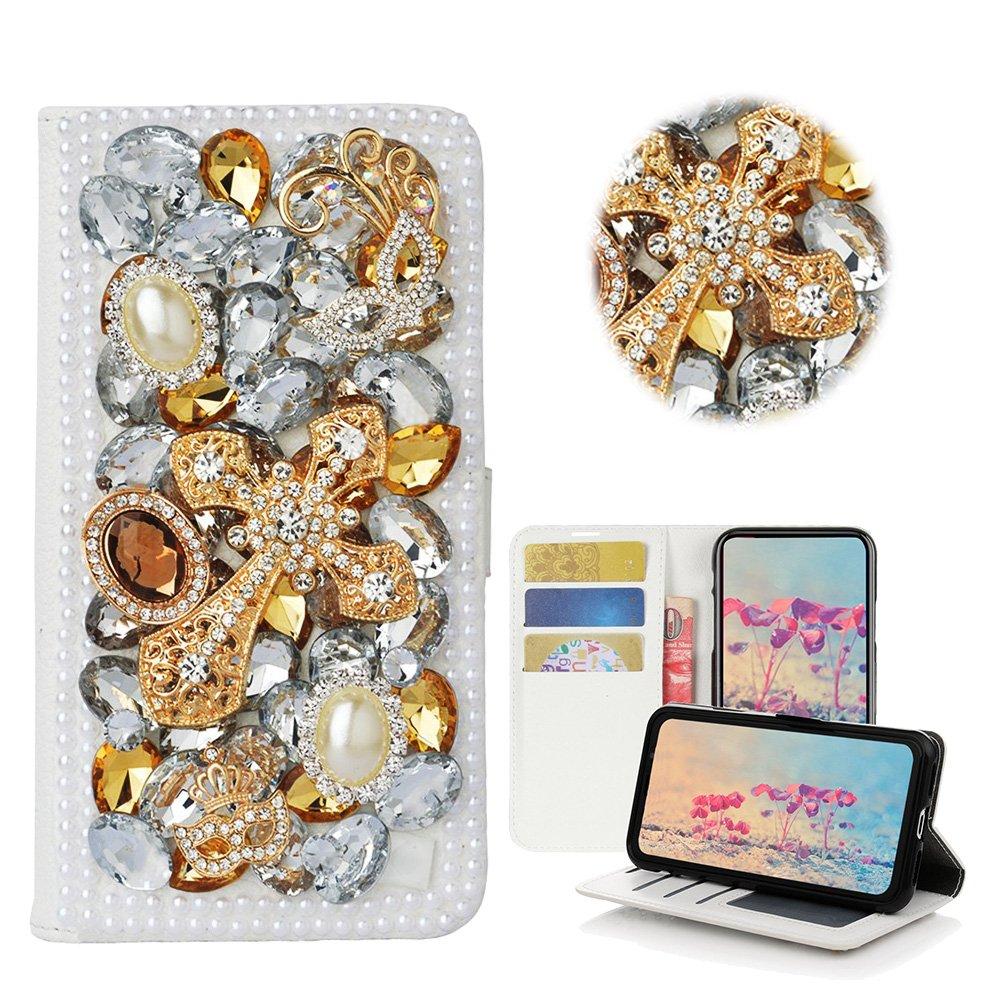 STENES LG V30 Case, LG V30 Plus Case - Stylish - 3D Handmade Bling Crystal Mask Cross Desgin Wallet Credit Card Slots Fold Media Stand Leather Cover Case - Gold