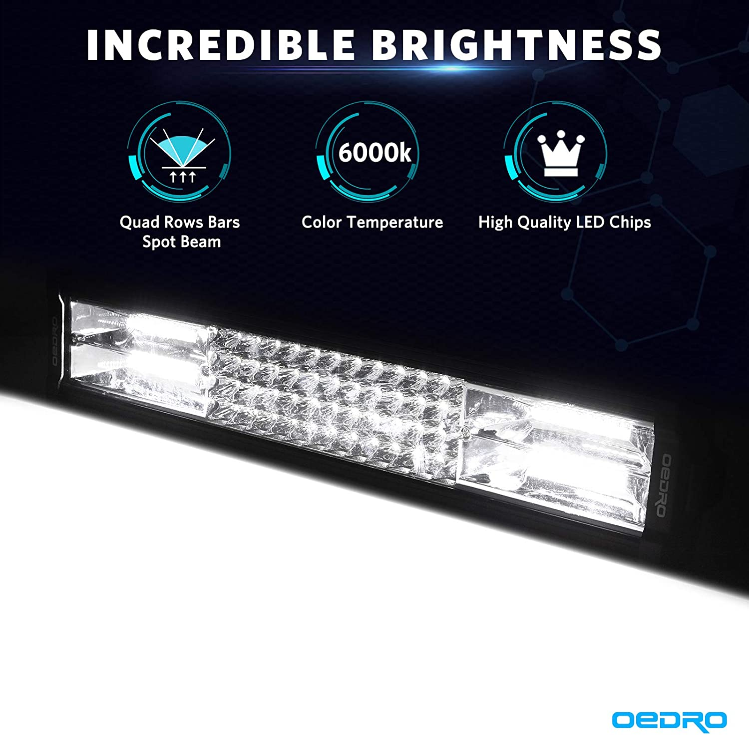 LED Light Bar OEDRO 16 Inches 400W 28000LM Quad-Rows Spot Flood Combo Led Lights Work Lights+Wiring Harness IP68 Grade Off Road Light 12V 24V Fit for Pickup Jeep SUV 4WD 4X4 ATV UTE Truck Tractor etc