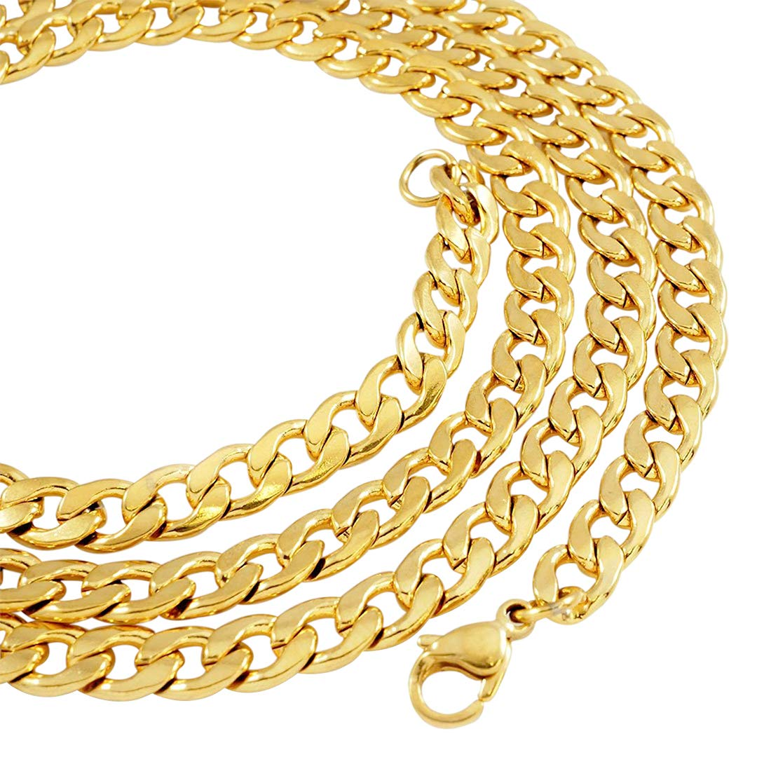 a9506ce13 NIV'S BLING - 18k Yellow Gold-Plated Stainless Steel Miami Link Chain 6mm,  20-36 inches (20.00)   Amazon.com
