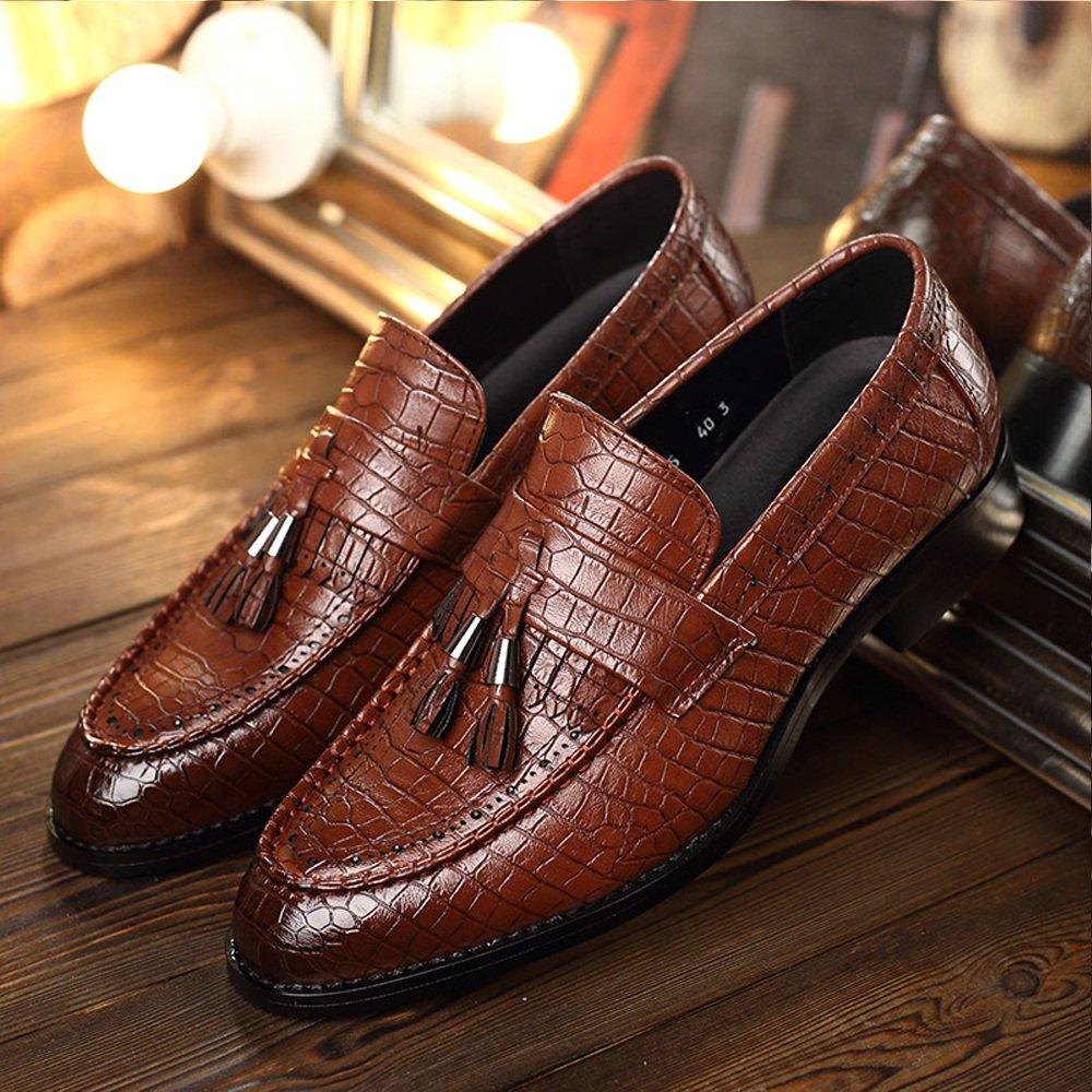 Sunny&Baby Herren PU-Leder Schuhe Schlangenhaut Textur oberen Loafers Slip-on atmungsaktive Low Top ausgekleidet Oxfords Abriebfeste ( Color : Brown , Größe : 38 EU )
