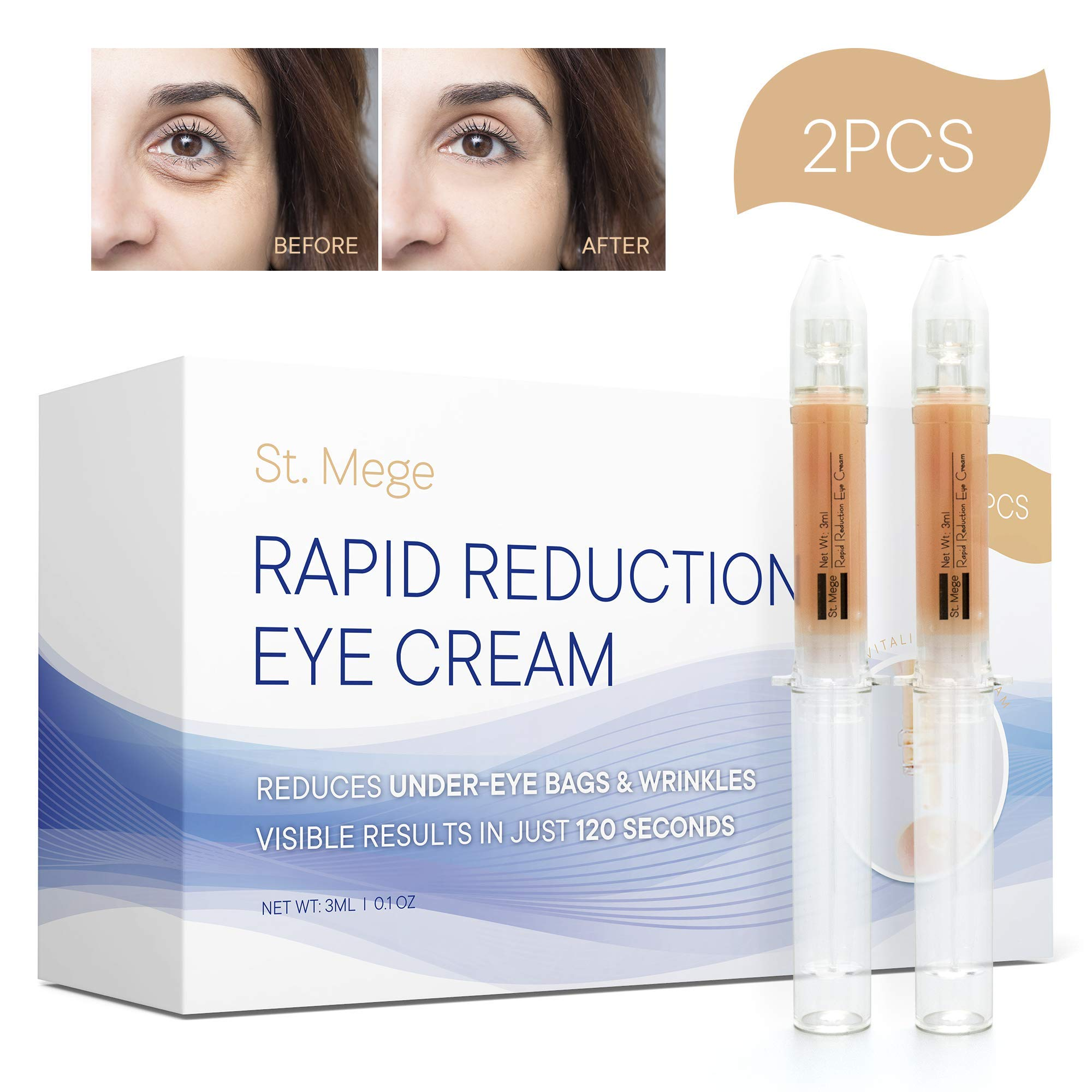 Rapid Reduction Eye Cream for Rapidly Reducing Bagginess, Puffiness, Dark Circles and Wrinkles in 120 Seconds by St. Mege 2Pcs by St. Mege