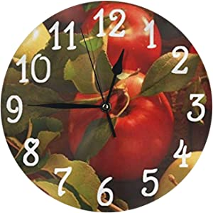 wojuedehuidamai6 Silent Wall Clock - Great Fall Autumn Apples Design Kitchen - Decorative Wall Clock for Home?Office and Cafe with 9.5in