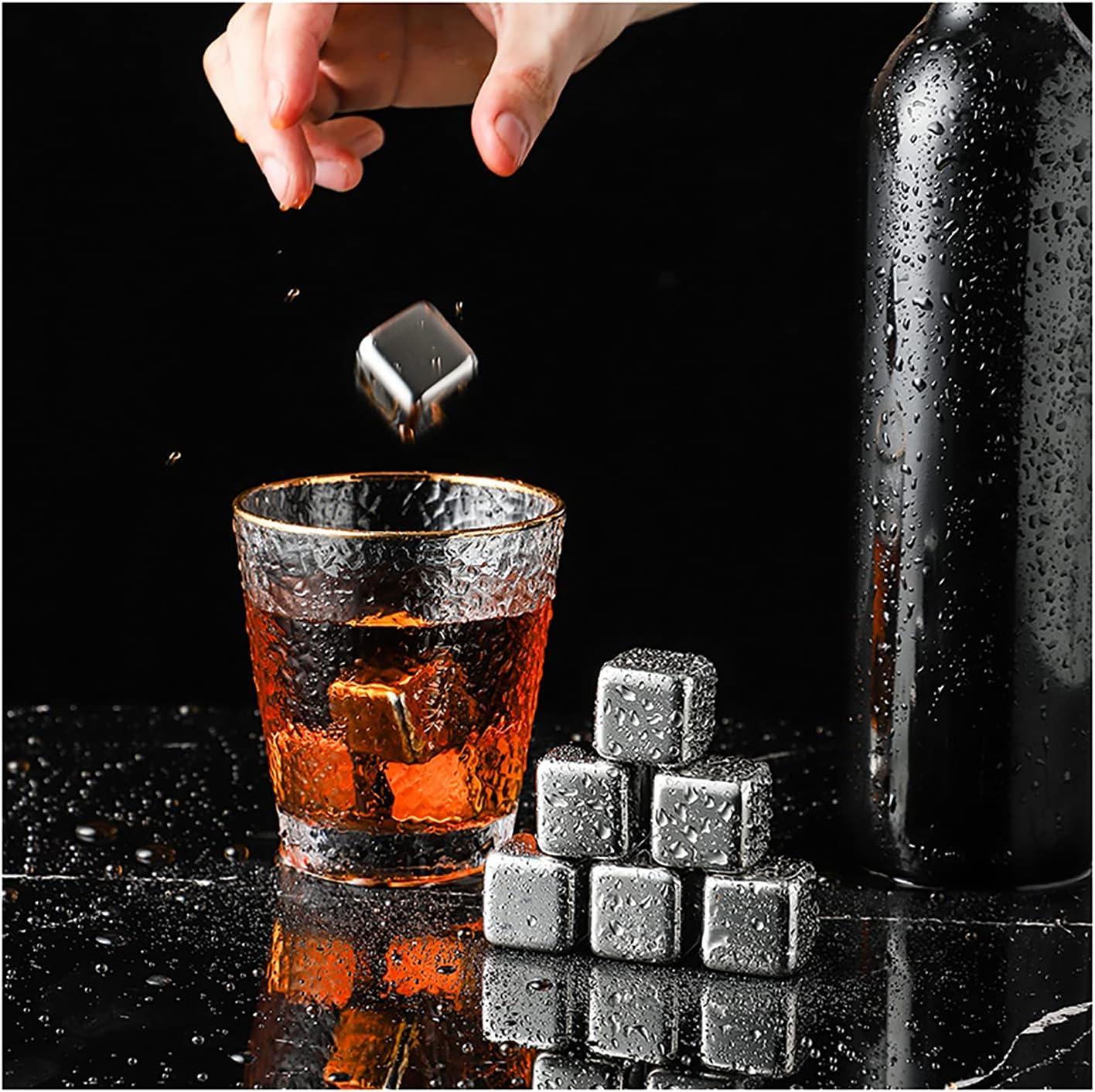 Cubitos Hielo de Acero Inoxidable Piedras de Enfriamiento Reutilizables con Pinzas y Caja de Cubitos de Hielo para Whisky, Vino, Cerveza, Cóctel Juego de 8