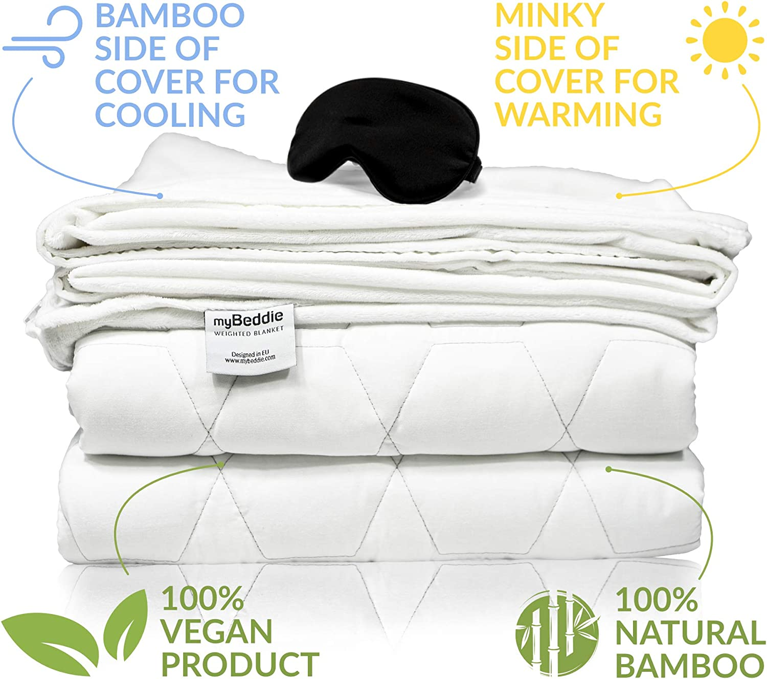 myBeddie Luxurious Cooling Weighted Blanket Bamboo with Removable Cover + Warm Minky Side Calming and Comforting No Leak Premium Glass Beads Adult Size (55x78-20lbs)