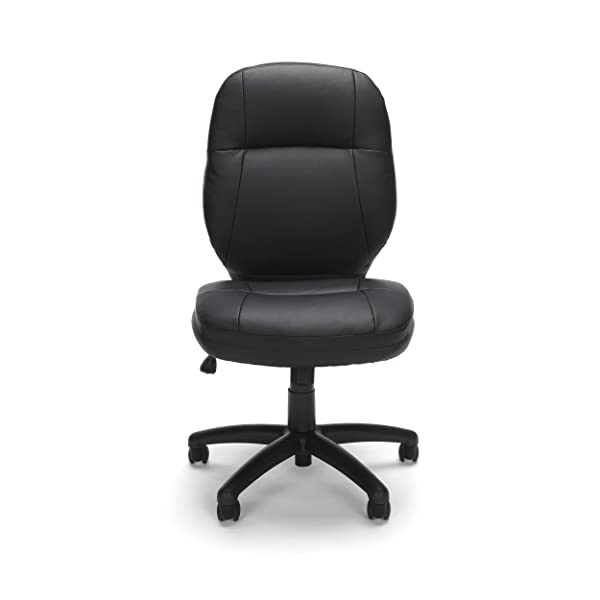 OFM Stimulus Series Leatherette Executive Mid-Back Armless Chair, in Black (521-LX-T)