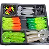 bouti1583 Fishing Lures Bait Tackle Set 10Pcs Small Jig Head with 35Pcs Soft Lure Baits
