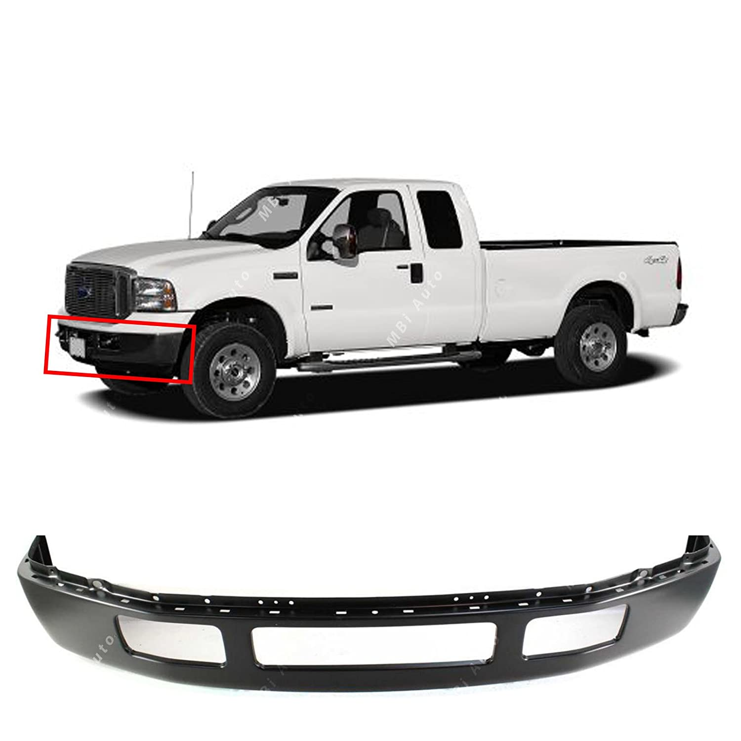 2006 Ford F250 Front Bumper >> Amazon Com Mbi Auto Primered Steel Front Bumper Facebar For 2005