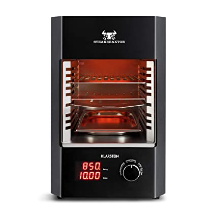 Klarstein Steakreaktor 2.0 • Potente Grill • Parrilla eléctrica • Grill Alta Temperatura • 850°C • Placas cerámicas • Pantalla LED Bandeja Grasa • ...
