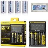 Bundle: Nitecore D4 Battery Charger with 4PCs 700mAh 16340 EASTSHINE E07 RCR123A Li-ion Batteries EB182 Battery Case Car Adapter