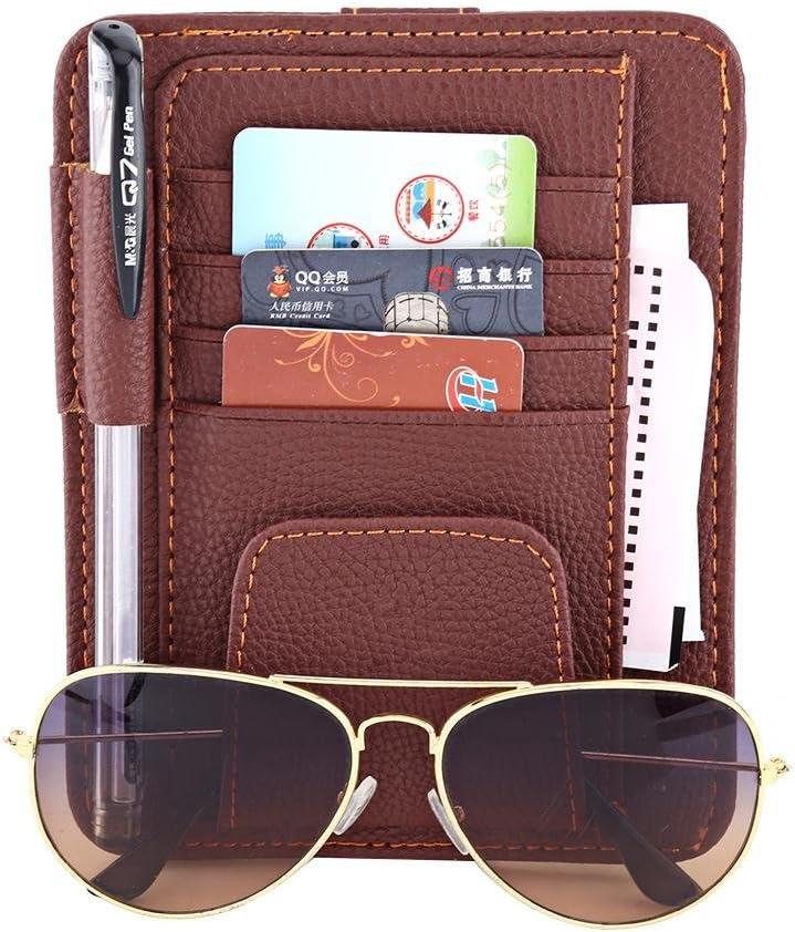 sac de rangement de cartes multi-fonctionnel pour sac de rangement pour cartes auto clip int/érieur accessoires pour organisateur de poche Organisateur de pare-soleil de voiture Beige