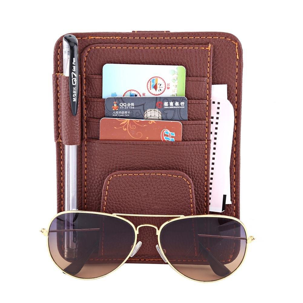 Schwarz Keenso Multifunktions Auto Sonnenblende Veranstalter Karte Lagerung Gl/äser Halter Clip Tasche Tasche H/ängen Halter PU Leder