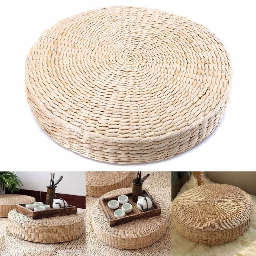 MOOUS Woven Straw Seat Cushion Pad Handmade Straw Round Tatami Yoga Floor Seat Pillow Cushions Breathable Japanese Tatami Floor Pillow Meditation Pillow Home(40cm x 6 cm)