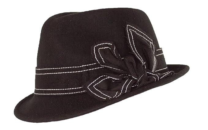 1aad9d4b9f231 Warm Wool Fedora Black Classic Vintage Style Cuban Hat Bowknot, Contrast  Stitching