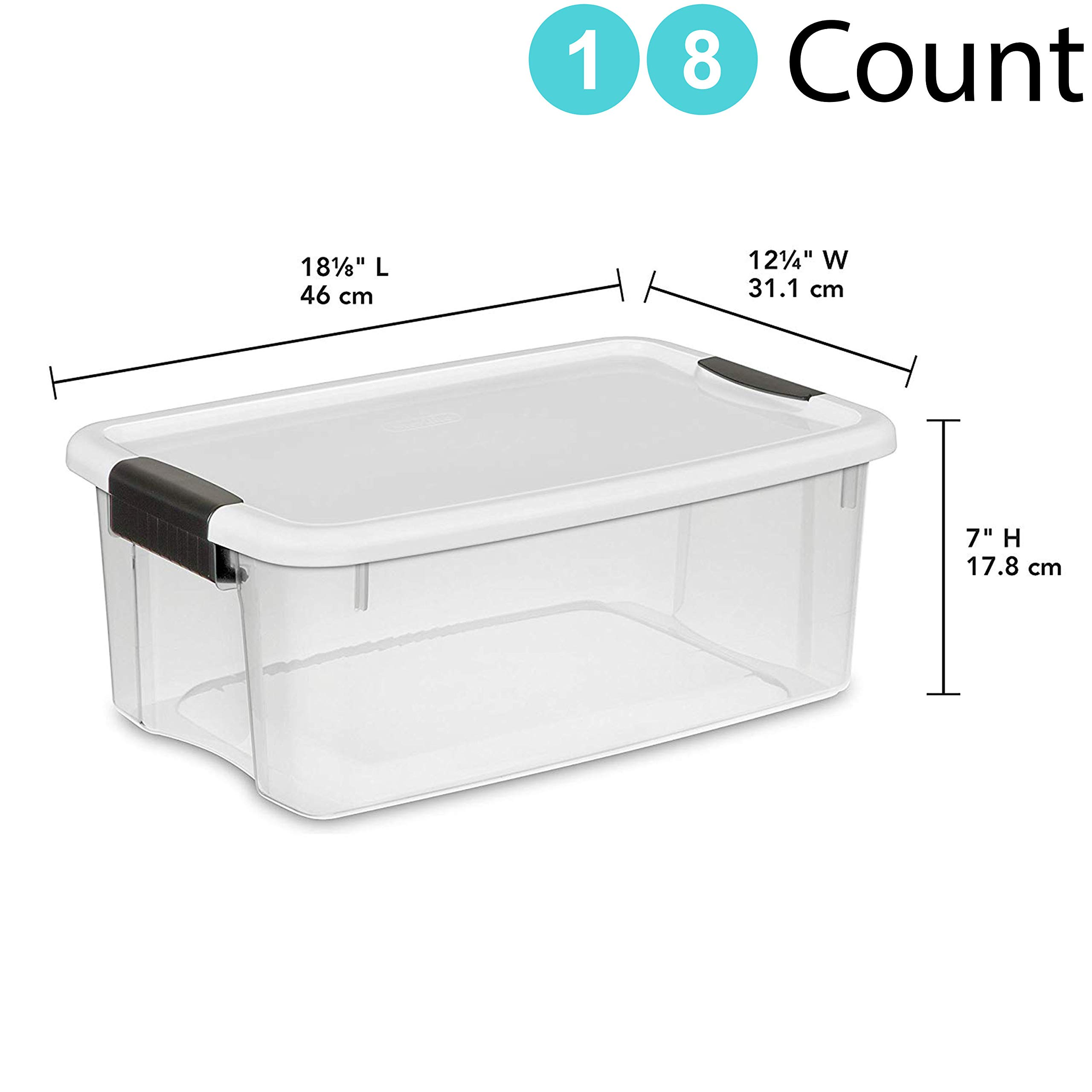 STERILITE 18 Quart Ultra Latch Storage Box w/White Lid & See-Through Base (18, Clear)