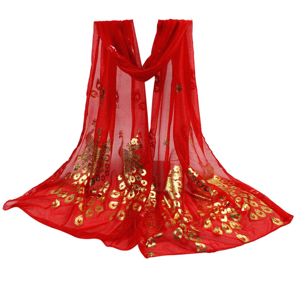 YOMXL Women Peacock Gilded Scarf Shawl Soft Wrap Stole Solid Color Long Scarf Lightweight Head Wrap Shawl Cape (Red)