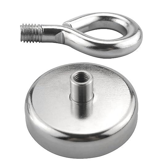 toohxl Super Potente tirar redondo imán de neodimio con avellanado agujero y cáncamo - 255 LBS fuerza de tracción., diámetro 2.36