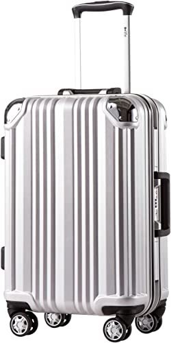 Coolife Luggage Aluminium Frame Suitcase TSA Lock 100 PC 20in 24in 28in Sliver