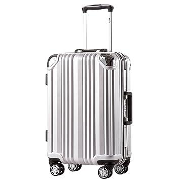 57a044e430a2 Coolife Luggage Aluminium Frame Suitcase with TSA Lock 100% PC (L(28in),  Silver)