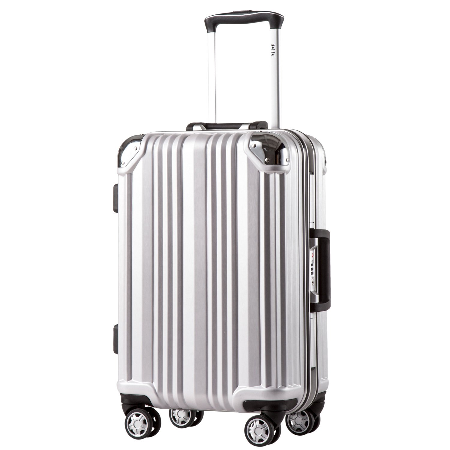 3affa23d54 Coolife LuggageアルミニウムフレームスーツケースTSAロック100PC 20 in in 28 in B074WPK8HF  S(20in)|シルバー シルバー S(20in) 24-スーツケース