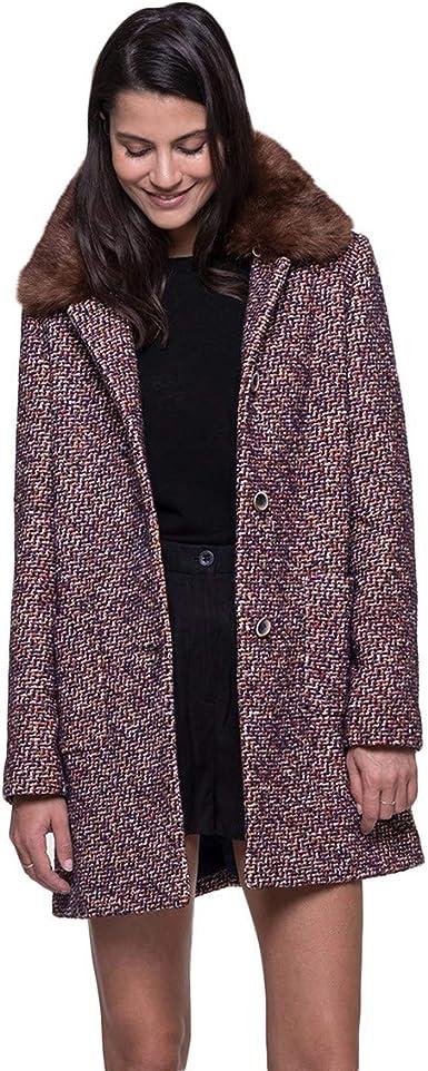 Manteau Tweed avec Col en Fausse Fourrure Amovible: Amazon