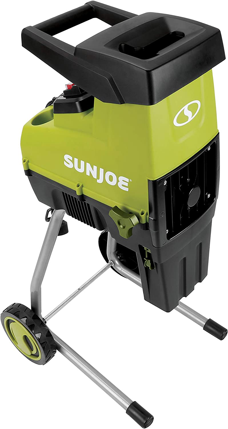 Sun Joe CJ603E 15-Amp 1.7-Inch Cutting Diameter Electric Silent Wood Chipper Shredder, Green