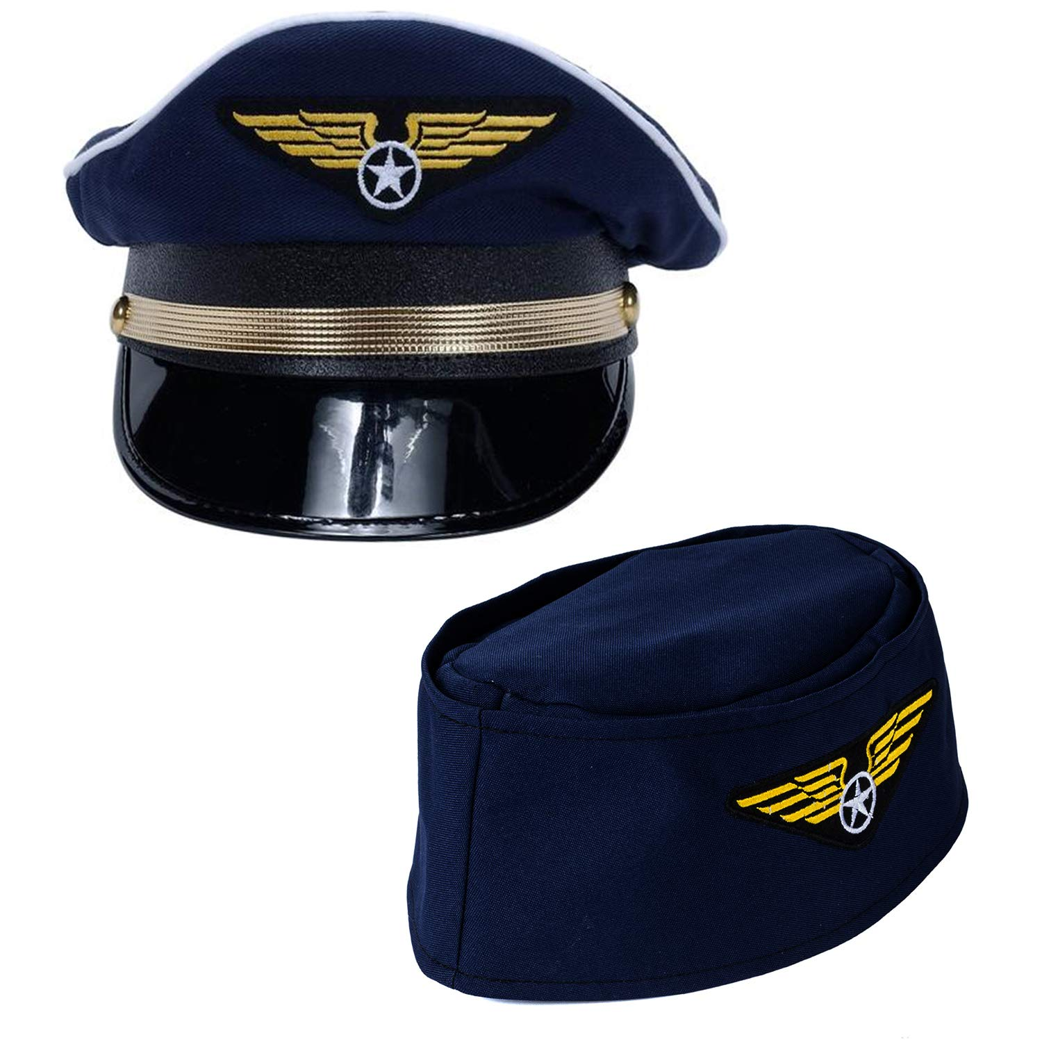 Tigerdoe Pilot Hat - 2 Pack - Captain Pilot Hat - Pilot and Flight Attendant Costume - Couples Costumes by Tigerdoe